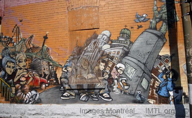Wall painting on Villeneuve Street - Montreal
